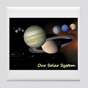 Earth's Solar System + Pluto's Heart Tile Coaster